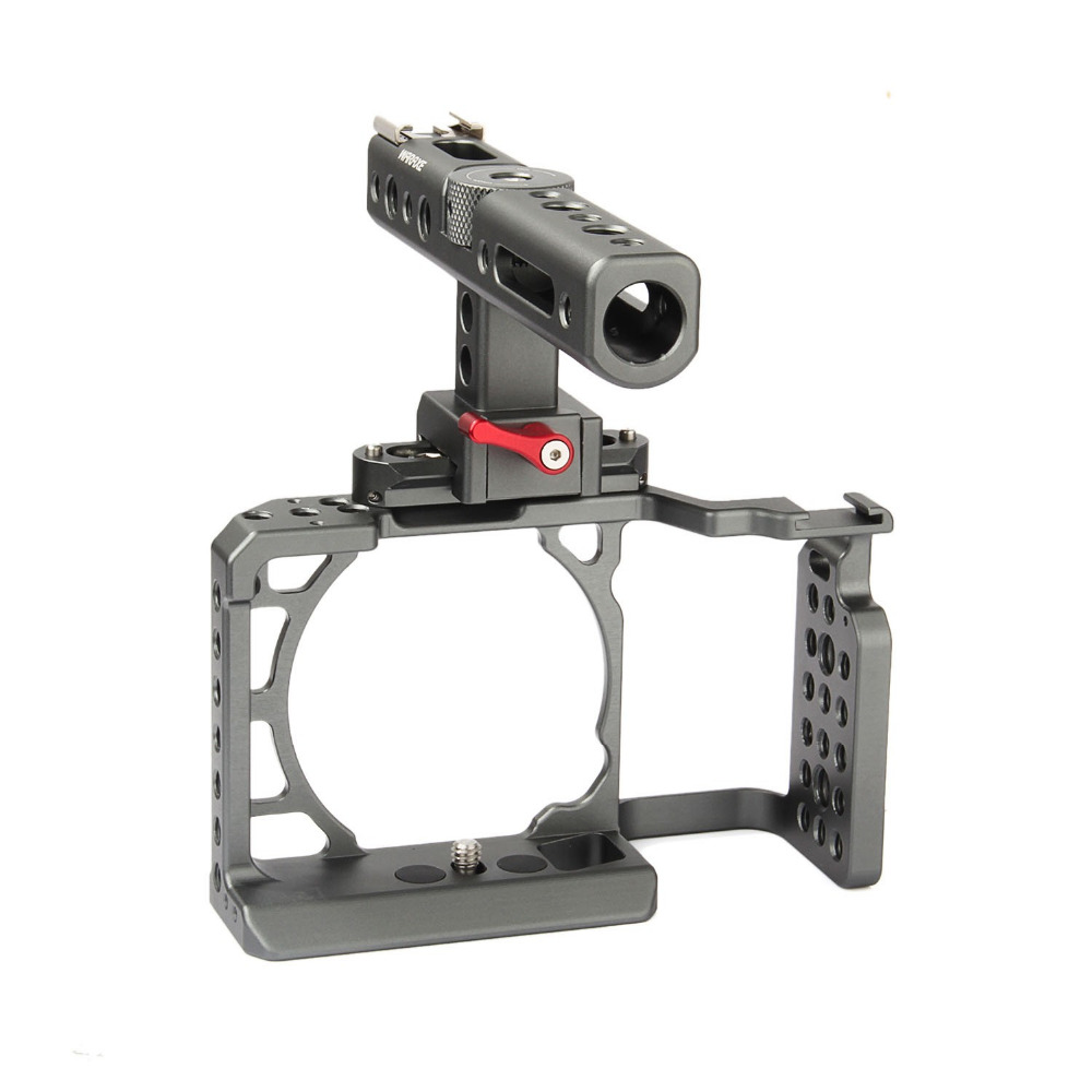 productimage-picture-waraxe-a6-kit-camera-cage-with-nato-rail-handle-grip-for-sony-ilce-6000-ilce-6300-ilce-a6500-with-1-4-and-3-8-threaded-holes-cold-shoe-base-97616
