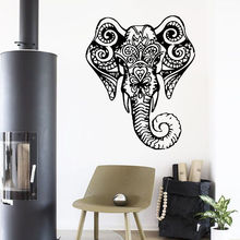 2016 fashion animal Wall Decal Elephant Vinyl Sticker Indian Bedroom Design Yoga Studio Decor os1456 free shipping