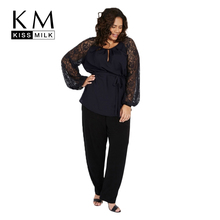 Kissmilk Plus Size Semi Sheer Patchwork Lace Latern Sleeve Women Blouse O Neck Casual Lace Up Waist Blouse Large Size Blouse(China)