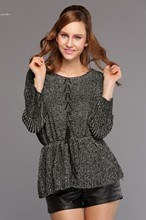 2014 New women sweater warm sweater jumper women casual Tops Crochet pullover vestidos femininos Waist Rope Elastic 31