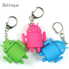 Hot !Leve future Android robot LED keychain sound & emit light promotional gift Handbag Decor mini flashlight keyring Wholesale(China)