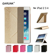 for Apple ipad 2 ipad 3 ipad 4 Tablet Case Smart Sleep Wake Thin Luxury PU Leather Stand Clear Back Cover for ipad 2 3 4 GARUNK