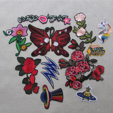 butterfly fashion unicorn Patches Big Stickers Embroidery flower Applique Motif Applique Garment Women DIY Clothes Wedding Patch(China)