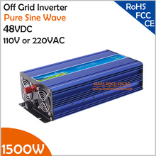 1500W 48VDC Off Grid Inverter, Surge Power 3000W for 110VAC or 220VAC Home Appliances in Solar or Wind Power System