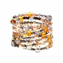 Nice Crystal jewelry Handmade 5 round multi-layer crystals pearls mix wrap bracelet 7 colors U pick