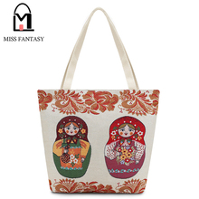 New Design Women's Canvas Tote Bag Female Casual Beach Bag Lovely  Matryoshka Doll Large Daily Use Canvas Handbags School Bags