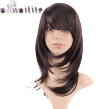 S-noilite Long Dark Brown None Lace Wigs 100% Real Natural Straight Synthetic Glueless Heat Resistant Wig BOB Hairstyle(China)