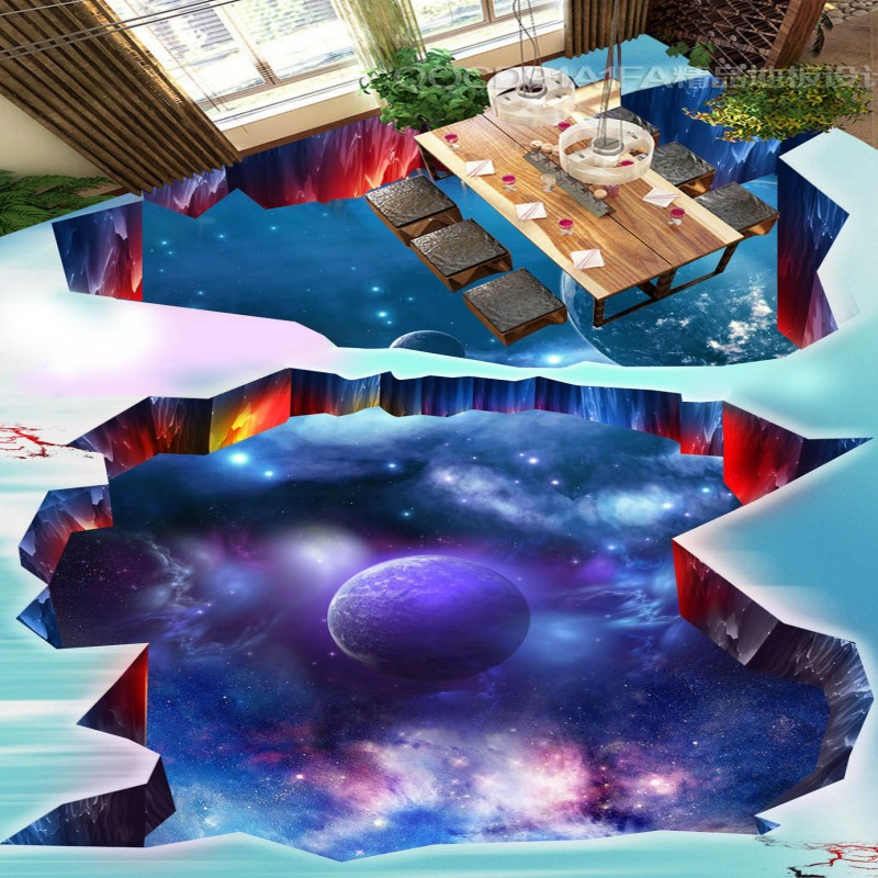 Free Shipping 3D Galaxy universe space planet earth flooring painting hotel restaurant waterproof PVC floor wallpaper mural<br>