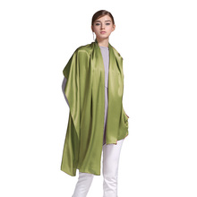 100% Silk Satin Long Scarf 55X180cm Pure Mulberry Silk Plain Color Silk Scarf Factory Direct Online Store 19 Olive Green Color(China)