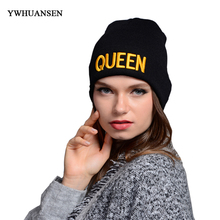 YWHUANSEN Popular Embroidery King &Queen Lovers Beanies Knitted Womens Hats Casual Wool Hats For Men Thick Crochet Cap Male Warm(China)