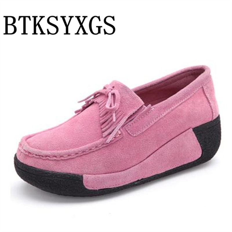 BTKSYXGS 2017 Womens shoes Ladies pumps 100% Genuine leather Tide Fashion Women High Heels Female Wedges Woman platform shoes<br>