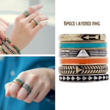 New Bohemian Finger Rings Set Fashion Accessories Punk Ring 6pcs/set 1D3001