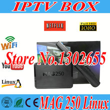 Freesat linux 2.6.23 system MAG 250 Tv Box iptv set top box Processor STi7105 RAM 256 Mb iptv box HD satellite receiver Hot sale