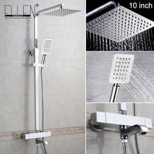 Buy Thermostatic Bathroom Shower Set Rainfall Bath Shower Faucet Wall Mounted Chrome Faucets for $122.18 in AliExpress store