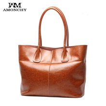 AMONCHY 100% Genuine Leather Women Bags Vintage Cowhide Handbags Female Shoulder Bags Natural Skin Bag Imported Lady Tote Bag 75(China)