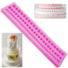 M037 New DIY Cute Pearl String Beads Silicone Mold Cake Decorating Fondant Baking Mould 23*4*1.1CM