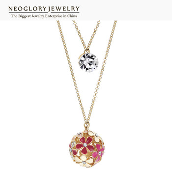 Neoglory Multi Layer Czech Rhinestone Gold Plated Flower Pendant Chain Necklaces for Women Fashion Jewelry 2017 New
