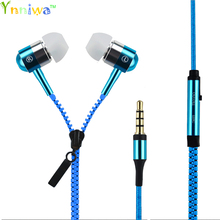 High quality Metal Zipper Stereo Bass In-Ear 3.5mm Wired Earphone Earbud With Microphone For Cellphone MP3 MP4 Earphones(China)
