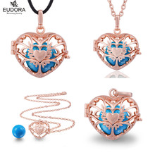 Angel Caller Blue Mexico Bola Heart Eudora Harmony Ball Rose Gold Floating Locket Cage Pendant Long Necklace Jewelry