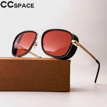 Steampunk Gogle Okulary Tony Stark Iron Man CCspace Matsuda Okulary Retro Kwadratowe Okulary Red Lens Okulary UV400(China)