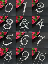 Large Diamante Rhinestone Crystal MONOGRAM LETTER 0-9 Cake Toppers For Wedding Birthday Party Decoration 1pcs