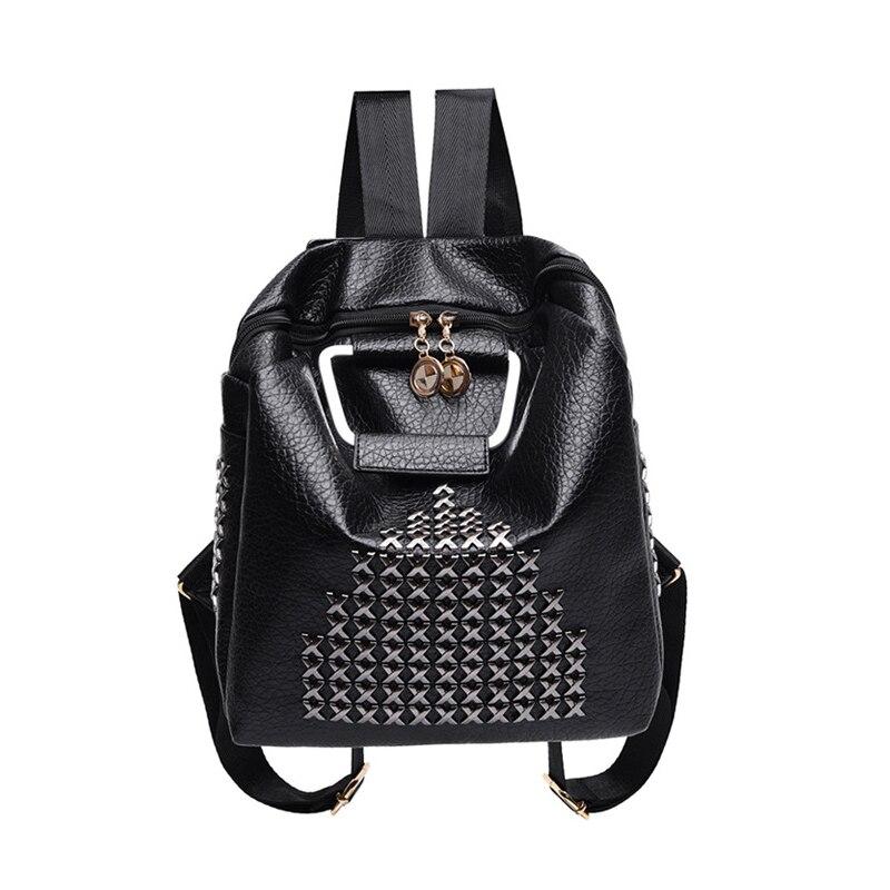 Rivet Stylish Backpacks For Women Ladies Travel Bags Famous Brands Designer Black Preppy Style Backpack School Bag Bolsa Mochila<br><br>Aliexpress