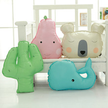 Creative Bear Stuffed Throw Pillow Cute Whale, Cactus, Pear Shape Sofa Cushion Home Decoration Toy Children's Gift Kids Toy