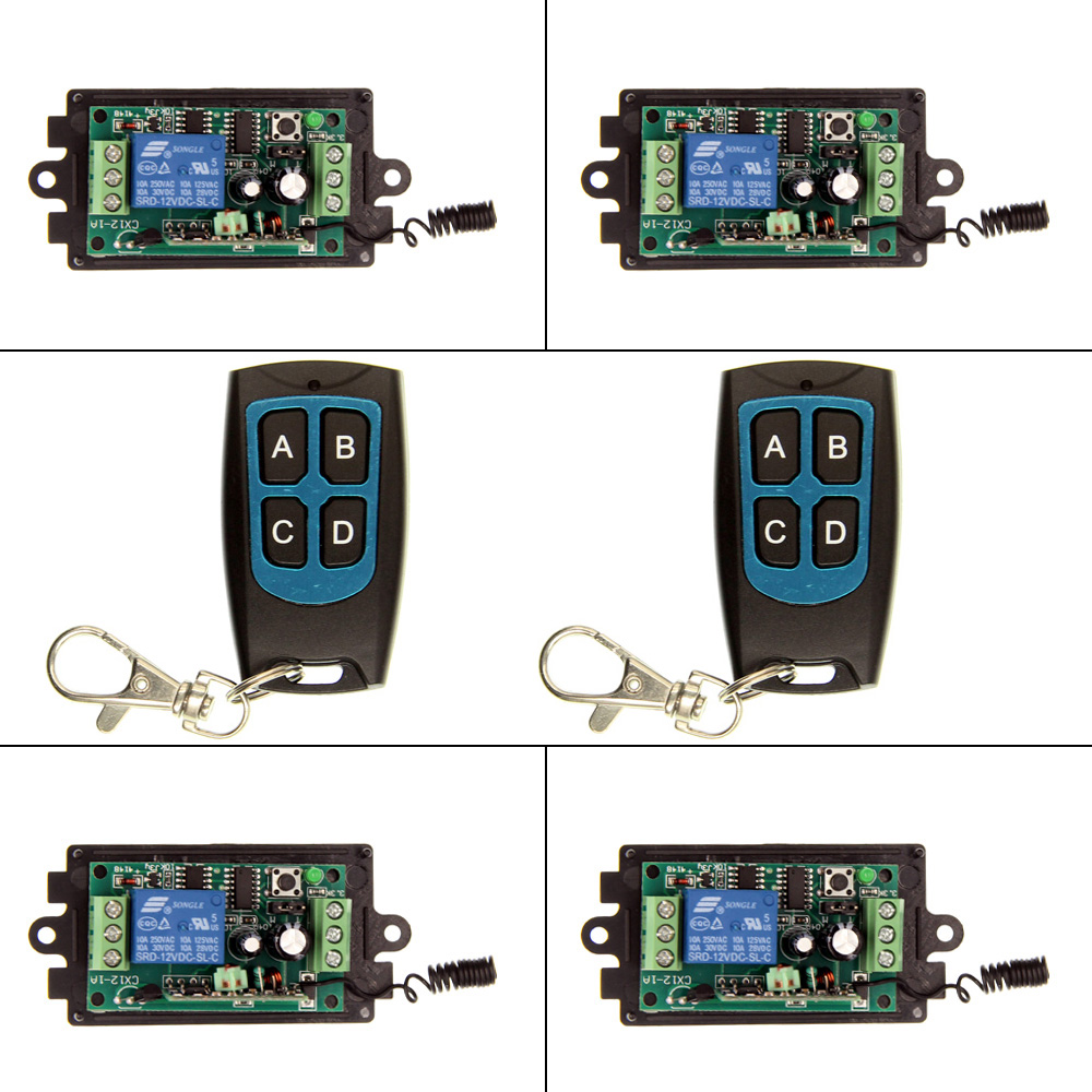 DC 9V 12V 24V 1 CH 1CH RF Wireless Remote Control Switch System,315/433.92, 2 X 4CH Waterproof Transmitter And 4 X Receivers<br><br>Aliexpress