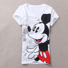2017 summer women t-shirts girl casual harajuku style elephant mario cute cartoon minnie mouse print t shirt tee top tops shirts
