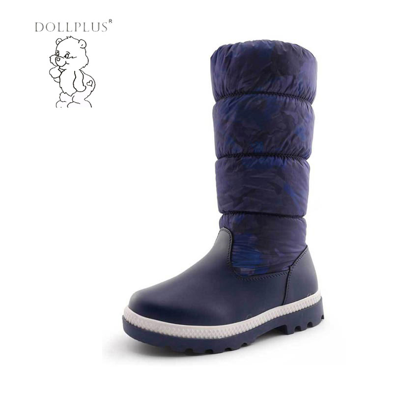 Dollplus 2017 Russia -30 Degrees Winter Kids Warm Snow Boots Girls Knee-High Non-Slip Printing Fashion Outdoor Shoes Eur 32-37#<br>