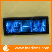 Blue color 11x33 dots scrolling  led running name tag with rechargeable battery