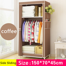 Fashion Simple style small wardrobe Clothe storage cabinets Folding Non-woven closet steel pipe individual wardrobe for Bedroom(China)