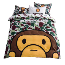 100% Cotton Bape Camo A Bathing Bape Bedding Set 4pcs Kids Cartoon Animal Printed Duvet Cover Bed Sheet Pillowcases Queen Size