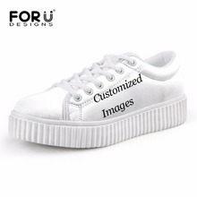 FORUDESIGNS Custom Images or Logo Flats Platform Shoes Woman Women's Fashion Low Style Creepers Shoes for Ladies Casual Female