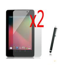 "3in1 2x LCD Clear Screen Protector Films Protective Film Guards +1x Stylus Pen For Google Nexus 7 1nd 1rd 2012 7"" Tablet"