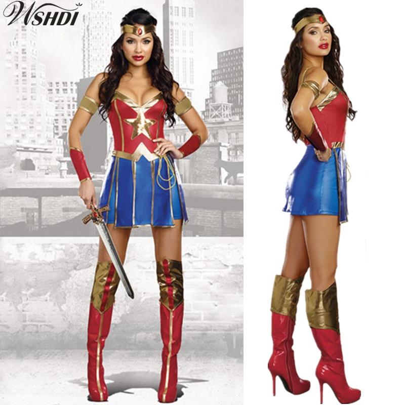 Wonder Woman Super Hero Fancy Dress Costume M L 10 12