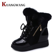 Brand Women's Pu Leather Shoes Thick Fur Fashion Snow Boots 2017 New Winter Cotton Warm Shoes For Women Ankle Boots