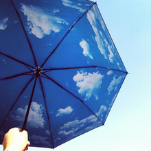 Creative Blue Sky White Clouds Anti Sunscreen Sun Rain Umbrellas
