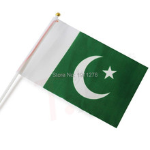 New fashion Pakistan Flag 14x21cm Polyester Hand Waving National Flag Pakistan with Plastic Flagpoles Home Decor.10 pcs /lot