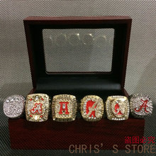 2017 Free Shipping Replica High Quality 6pcs/Packs University of Alabama Crimson Tide Championship Ring set with wooden box