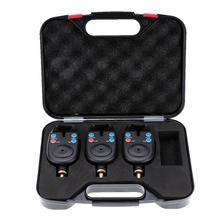 3pcs Blue LED Wireless Fishing Bite Alarms Water Resistant Sound Audio Visual Fishing Alert Catfish Carp Fishing in Plastic Case(China)