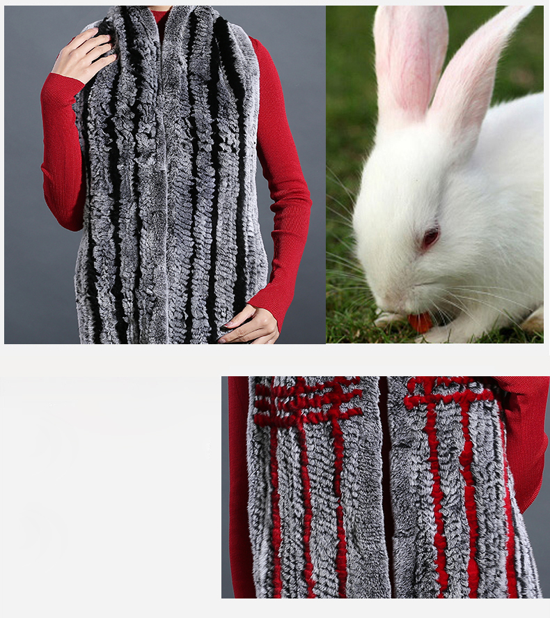 100% Real Rex Rabbit Fur Scarves Wraps For Women Winter Handmade 2018 New Fashion Long Natural Fur Scarf   (3)