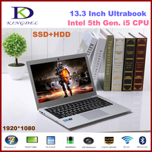 Ultra thin 13.3 inch Intel i7 5th Gen i7 5500U CPU Laptop Notebook with 8GB RAM 256GB SSD 1920*1080, 8 Cell Battery, Metal Case