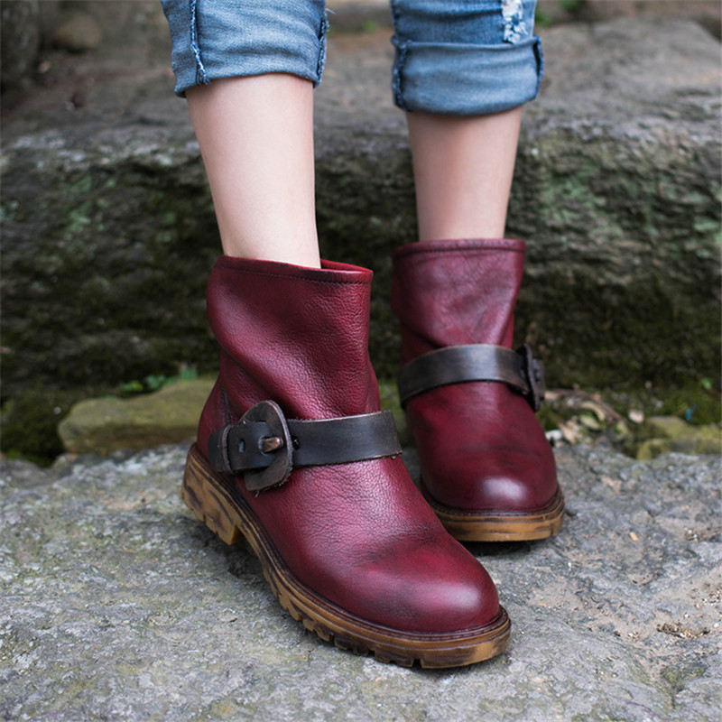 Tiannige original leather manual shoes classic Restoring ancient ways belt buckle ankle boots and ankle boot Martin boots<br><br>Aliexpress