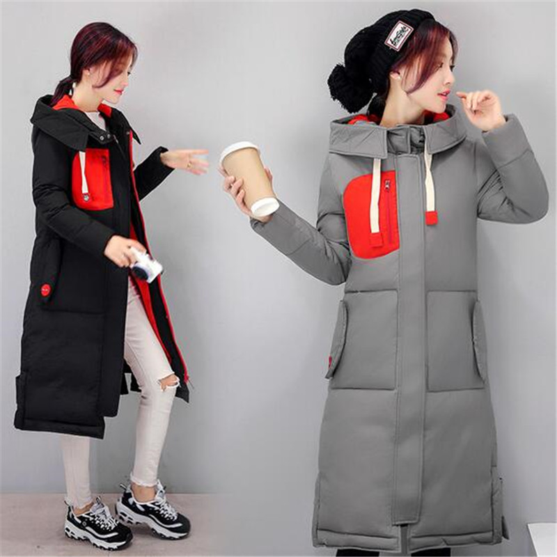 2017 Korea New Slim Winter Cotton Jacket Tide Female Student Hooded Coat Medium long thicken Jacket Large size Women Coat G0680Одежда и ак�е��уары<br><br><br>Aliexpress