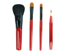 Clearance Sale Cheap 4 pcs red plastic handle makeup brush set goat hair cosmetic tools gift portable brushes