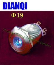 19mm stainless steel Button flat round button switch Latching switch 1NO 1NC LED dot lamp switch high quality 19PY1D/G,S.KB