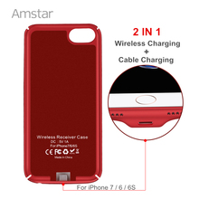 Amstar Qi Wireless Charger Receiver Case Cover 2 1 Charging & Cable Mobile Phone iphone 6S 6 - Official Store store