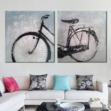 Unframed Canvas Painting Wall Pictures for Living Room High Skill Artist Handmade Bicycle Wall Art 2 pieces Canvas Art Abstract(China)