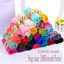 180cmx60cm Women Cotton Linen Scarf Muslim Hijab Muffler Casual Long Plain Scarves Shawl Stole 23 candy colors for choose(China)